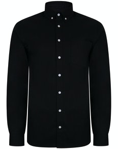 Bigdude Oxford Long Sleeve Shirt Black Tall