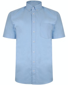 Bigdude Oxford Short Sleeve Shirt Light Blue Tall