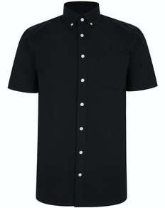 Bigdude Linen Blend Short Sleeve Shirt Black