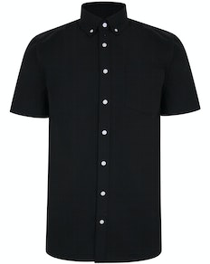 Bigdude Linen Blend Short Sleeve Shirt Black Tall