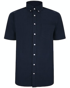 Bigdude Linen Blend Short Sleeve Shirt Navy