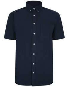 Bigdude Linen Blend Short Sleeve Shirt Navy Tall