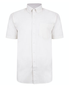 Bigdude Linen Blend Short Sleeve Shirt Off White Tall