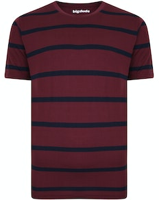 Bigdude Striped Crew Neck T-Shirt Burgundy/Navy