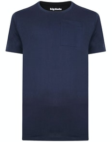 Bigdude Plain Crew Neck T-Shirt With Pocket Navy Tall
