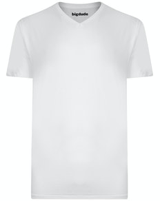 Bigdude Plain V-Neck T-Shirt White Tall