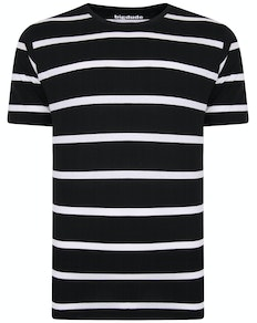 Bigdude Striped Crew Neck T-Shirt Black/White