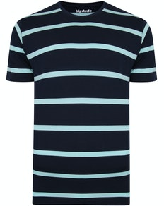 Bigdude Striped Crew Neck T-Shirt Navy/Turquoise