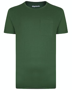Bigdude Plain Crew Neck T-Shirt With Pocket Deep Green Tall