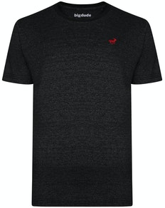 Bigdude Contrast Neckline T-Shirt Black Marl
