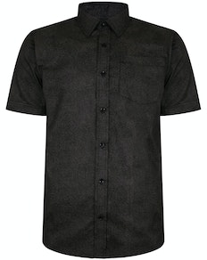 Bigdude Short Sleeve Cotton Woven Shirt Black/Brown Tall
