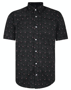Bigdude Short Sleeve Cotton Woven Bird Shirt Black/Red