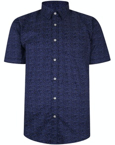 Bigdude Short Sleeve Cotton Woven Spotted Shirt Navy