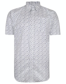 Bigdude Short Sleeve Cotton Woven Cocktails Shirt White
