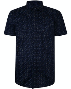 Bigdude Short Sleeve Cotton Woven Cocktails Shirt Navy