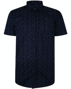 Bigdude Short Sleeve Cotton Woven Cocktails Shirt Navy Tall