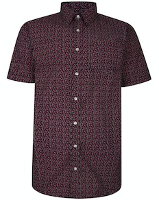 Bigdude Short Sleeve Cotton Woven Floral Shirt Black Tall