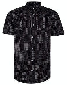 Bigdude Short Sleeve Cotton Woven Asterix Shirt Black