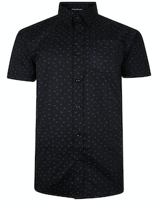 Bigdude Short Sleeve Cotton Woven Anchor Shirt Black