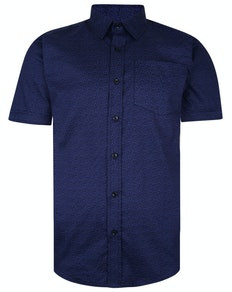 Bigdude Short Sleeve Cotton Woven Pattern Shirt Navy
