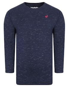 Bigdude Inkjet Marl Long Sleeve T-Shirt Navy Tall