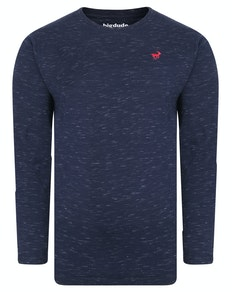Bigdude Inkjet Marl Long Sleeve T-Shirt Navy