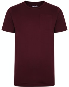 Bigdude Plain Crew Neck T-Shirt With Pocket Burgundy Tall