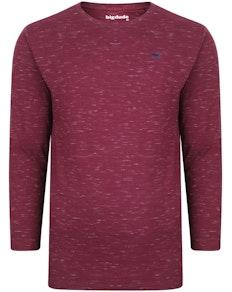 Bigdude Inkjet Marl Long Sleeve T-Shirt Burgundy Tall