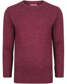 Bigdude Inkjet Marl Long Sleeve T-Shirt Burgundy Tall