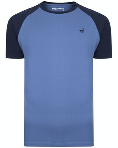 Bigdude Contrast Raglan Sleeve T-Shirt Blue/Navy