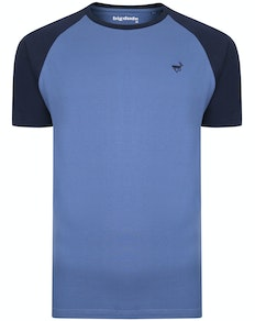 Bigdude Contrast Raglan Sleeve T-Shirt Blue/Navy Tall