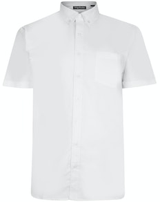 Bigdude Oxford Short Sleeve Shirt White Tall