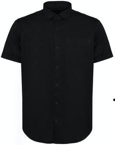 Bigdude Fine Twill Short Sleeve Shirt Black Tall