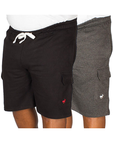 Bigdude Fleece Cargo Shorts Twin Pack Black/Charcoal