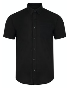 Bigdude Short Sleeve Linen Woven Shirt Black Tall
