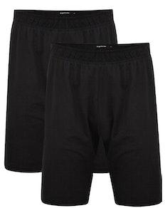 Bigdude Twin Pack Classic Pyjama Shorts Black
