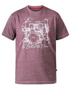 D555 Blunt Drum Set Crew Neck Printed T-Shirt Red