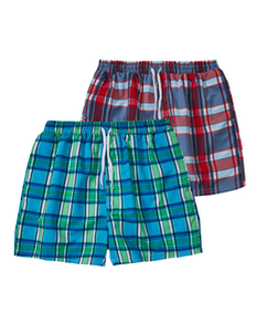 Check Swim Shorts Twin Pack Red/Blue