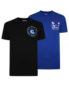 Bigdude Print T-Shirt Twin Pack Royal Blue/Black Tall
