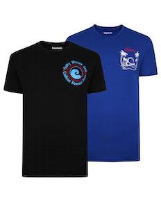 Bigdude Print T-Shirt Twin Pack Royal Blue/Black