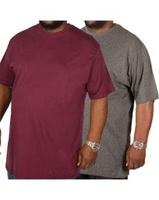 Bigdude Plain Crew Neck T-Shirt Twin Pack Burgundy/Charcoal