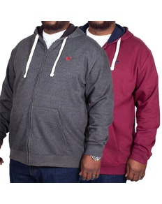 Bigdude Fleece Full Zip Hoody Twin Pack Burgundy/Charcoal