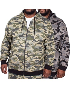 Bigdude Camouflage Full Zip Hoody Twin Pack Grey/Khaki