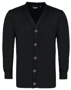 Bigdude Brushed Fleece Cardigan Black Tall