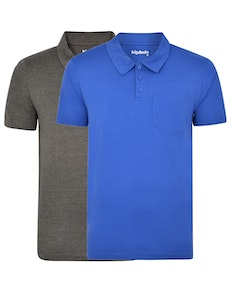 Bigdude Jersey Polo Shirt With Pocket Twin Pack Charcoal/Royal