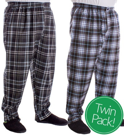 Kings Club Twin Pack Check Pyjama Bottoms