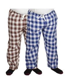 Bigdude Check Lounge Pants Twin Pack Brown/Blue