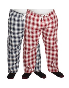 Bigdude Check Lounge Pants Twin Pack Navy/Red