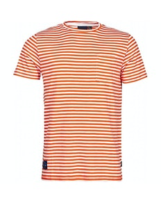 Replika Striped With Pocket T-Shirt Orange