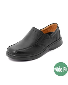 DB Shoes Chris Wide Fit Slip-on Black Leather Shoe